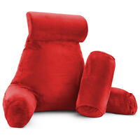 Large Foam Reading & TV Bed Rest Pillow +2 Neck & Lumbar Pillows, W/Pocket - Red