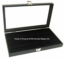 Lot of 2 Glass Top Black 24 Space Jewelry Display Cases Pendants Pin Brooch