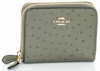 COACH Ostrich Embossed Leather Double Zip Around Wallet