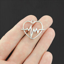 6 Heartbeat Heart Antique Silver Tone Charms 2 Sided - SC6744