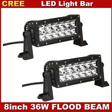 2X  8In 36W LED Light Bar Flood Offroad CREE Driving car Boat Truck 4WD 12V 24V