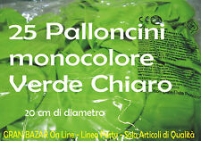 """PALLONCINI VERDE CHIARO LIME 25 Pz 19-20 cm diam 7"""" PARTY FESTA ANIMAZIONE"""