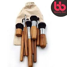 11 PCS Professional Kabuki Wooden Handle Makeup Brushes Set by Beauty Bon