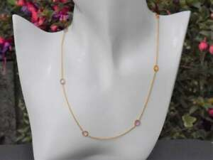 Natural Multi Sapphire Gemstone Woman Necklaces 14k Solid Yellow Gold Pendant
