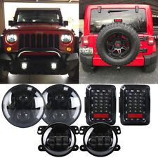 "2007-2018 Jeep Wrangler JK 7"" Halo White Led Headlight Fog Tail Lights Combo Kit"
