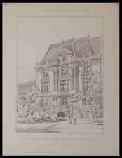 PARIS, HOTEL 54 AVENUE FOCH - 1891 - PLANCHE ARCHITECTURE - POLLET