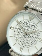 Emporio Armani Women's Watch AR1925 Classic White Silver Pave Stainless Steel