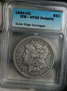 1892-CC Morgan Dollar S $1 Genuine Silver Coin ICG Carson City VF20 DETAILS