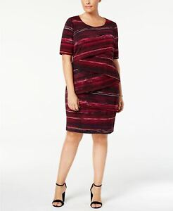 Connected Plus Size Printed Tiered Sheat Wine 18W
