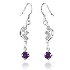 925 Silver Plated Half Moon CZ Stars Amethyst  Drop Dangle Earrings  Ladies Gift