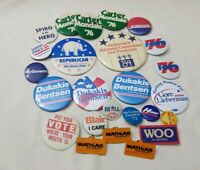 Lot of 25 Vintage Old POLITICAL Buttons Pins Carter Mondale Ford Dukakis Bentsen