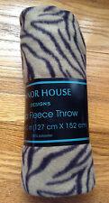 """Manor House Polar Fleece 50"""" x 60"""" Tan/Brown Zebra Print FLEECE THROW New"""