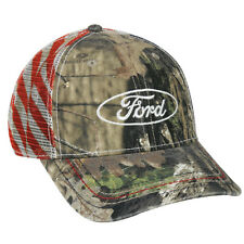 Ford Mossy Oak Break Up Country USA Flag Hat New Structured Camo Snap Back USA