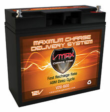 VMAX 600 12V DEEP CYCLE AGM BATTERY IDEAL FOR18LB-24LB WATERSNAKE TROLLING MOTOR