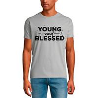 ULTRABASIC Herren T-Shirt Young and Blessed - Bibel Religiös Hemd