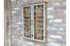 WALL UNIT WITH SHELVES GLASS FRONTED SAGE GREEN DISTRESSED FINISH H77cm x W69cm