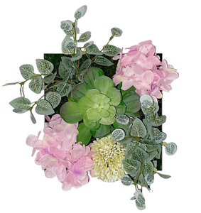 Artificial Plants Pink Flowers Room Wall Art 3D Home office Decor white frame