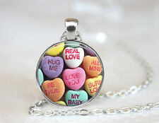 Vintage Valentine Candy Art Dome Tibetan silver Glass Chain Pendant Necklace