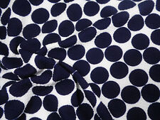 Bullet Printed Liverpool Textured Fabric Stretch White Big Navy Polka Dot N30
