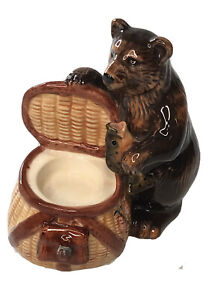 "Decorative Bear Creel Fish Tealight Candle Holder Cabin Rustic 6 1/2"" x 6 1/2"""