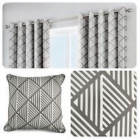 Fusion BROOKLYN Grey 100% Cotton Ready Made Eyelet Curtains & Cushions