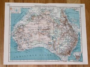 1937 ORIGINAL VINTAGE MAP OF AUSTRALIA