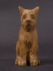 Early 20th Century Anonymous Wood Carving Expressive Sitting Dog