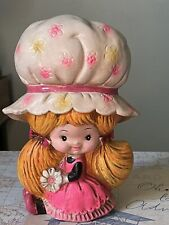 """Vintage 70s Chalkware Girl Pink Dress Flowers It's the Berries Collector's 8"""""""