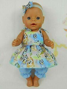 "Dolls clothes for17"" Baby Born~16"" CPK Doll~BLUEY & BINGO PLAYING STRAP DRESS"