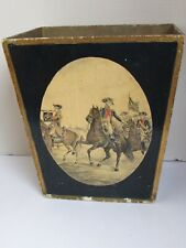 Antique Florentine Italian Wood Waste Paper Basket French Soldiers on Horseback
