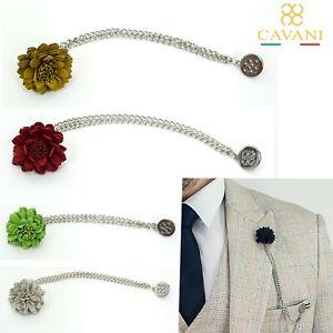 Mens Cavani Flower Tassel Layer Chain Suit Lapel Pin Wedding Red Navy Corsage