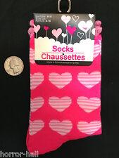 Neon Hot Pink HEART STRIPE CREW SOCKS Casual Rockabilly Lolita Love Novelty Gift