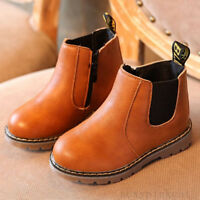 Cool Baby Kids Girls Boys Winter Fur Lined Warm Shoes Ankle Boots Waterproof New