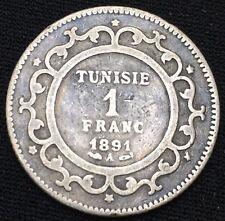 Tunisie 1 franc 1891 argent