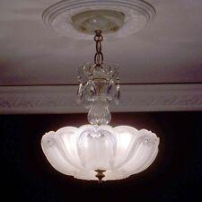 181 Charming old Vintage Ceiling Lamp Fixture Glass Chandelier 3 Lights