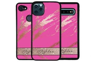 Pink and Rose Gold Marble Personalized Phone Case for Apple Samsung LG Google
