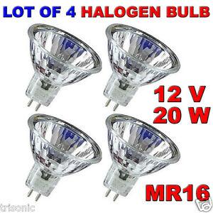 LOT OF 4 BULB HALOGEN LIGHT BULB MR16 CLEAR BI-PIN WIDE BEAM EXN 12 VOLT 20 WATT