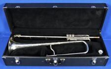 Vintage C.G. Conn Silver Valve Trombone T-Bone Brass Band Instrument w/ Case