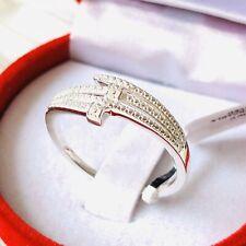 Diamond Bypass 925 Sterling Silver Ring Size U