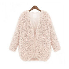 Womens Shaggy Faux Fur Coat Open Front Short Jacket Soft Cardigan Fluffy Outwear