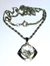 Bergkristall Anhänger ca.7ct mit Kette Silber 925 Sterling Meistermarke HB