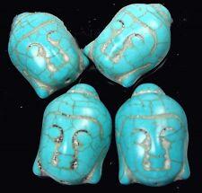 4 Kwan-Yin Buddha Blue Turquoise Pendant Focal Beads 30x20mm