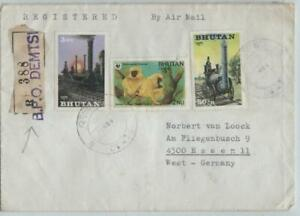 BHUTAN registered cover with 3 stamps, DEMTSI to ESSEN/Germany, 1980's?