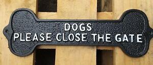 Dogs Please Close the Gate Cast Iron Sign Plaque 34cm wide