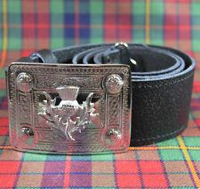 Neuf Écossais Chrome Celtique Chardon Boucle Ceinture et Ceinture Cuir -