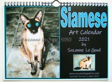 Siamese Cat Art Painting Calendar 2021 from original paintings Suzanne Le Good