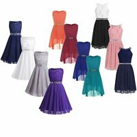 Kids Wedding Flower Girl Dress Formal Bridesmaid Princess Party Ball Lace Gown
