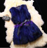 Women Real Genuine Raccoon fox Fur Vest Gilet waistcoat Jacket Coat Outwear