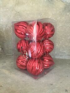 Sia Christmas shiny red glitter stripes twisted shatterproof baubles box of 12