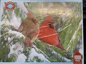 SPRINGBOK 1000 BIRDS EYE VIEW Cardinal Christmas snow winter jigsaw puzzle NEW